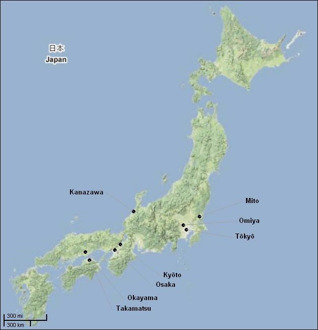 Bonsai auf der japan-karte