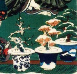 Schneebedeckte Ume (Pflaume / Aprikose), Sakura (Kirsche), and Matsu (Kiefer)